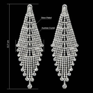 SHEVALUES Luxury Long Tassel Drop Earrings Silver Full Crystal Chandelier Drop