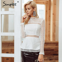 Simplee Sexy hollow out lace peplum women blouse shirt Office lady elegant ruffles long sleeve blouse female Autumn winter tops