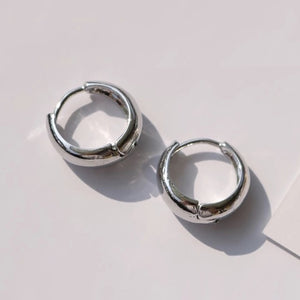 SRCOI Trendy Gold Silver Color Thick Hoops Earrings Round Circle Geometric