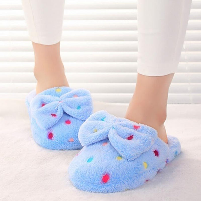 Autumn Winter Plush Slippers Women Indoor Home Slippers Cotton Cute Polka Dots Bow Knot Mules Ladies Soft Fur Slides Pink Blue
