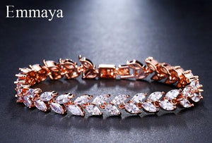 Emmaya Brand Fashion Charm AAA Cubic White Zircon Four Colors Leaf Jewelry \
