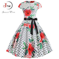 Women Vintage Dress Summer Floral Print Short Sleeve Dresses