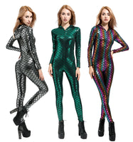 New Fish Dragon Scales Women Faux Leather Jumpsuit Holographic Metallic Catsuit bodysuit Sexy Jumpsuit Mermaid Suits 2018