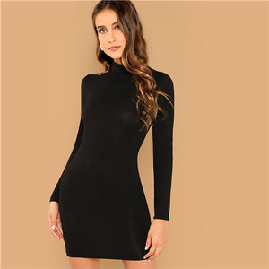 Black Minimalist Office Lady Solid Bodycon Stand Collar Long Sleeve Skinny Dress