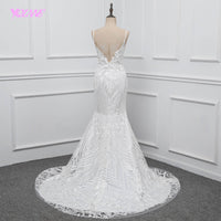 YQLNNE Lace Mermaid Wedding Dress 2018 Vestido De Noiva Spaghetti Backless Sweep Train Bridal Gown