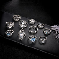 Lotus Turtle Rings Set for Women Crystal Boho Jewelry Silver Ring Wedding Jewelry