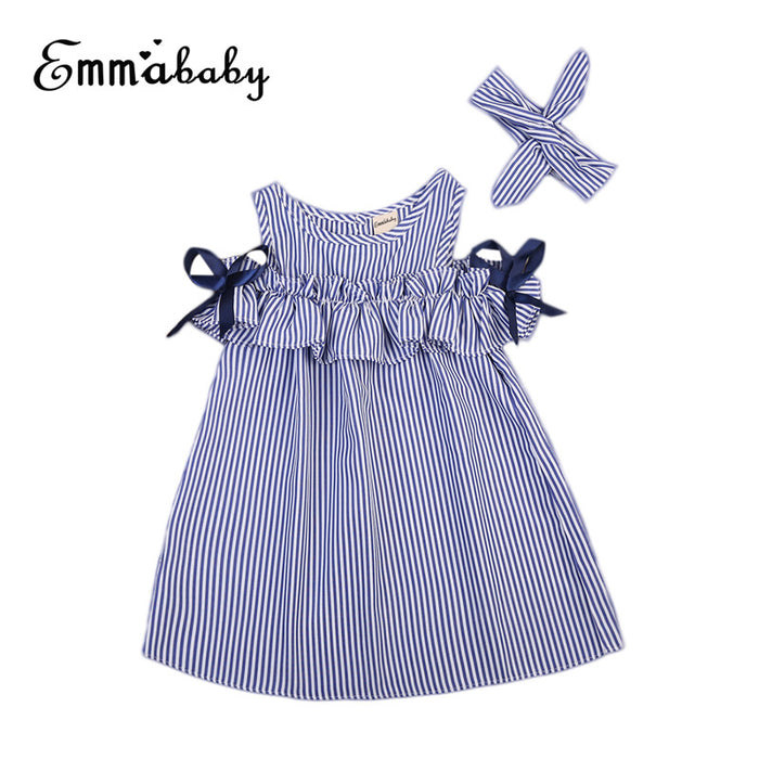Summer Off Shoulder Dress For Girls Cute Newborn Baby Girls Short Sleeve Dress Princess Party Dresses 2018 New Striped Vestidos