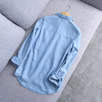 2019 Spring New Arrival Women Blue Cotton Denim Shirt Female Basic