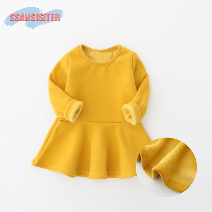 Winter Baby Dress Plus Velvet Newborns Infant Baby Clothing Candy Colors Soft Cotton Costume 0-3Years Birthday Dress Girls Dress