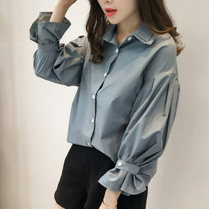 Autumn Spring Vintage Shirts Women Solid Slim Stand collar Women Casual Shirts Ladies Classic Style Shirts Female Loose