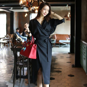 Women Dress  Neck Long Sleeve Sashes Wrap Front Split Casual Work Office Pencil Dress
