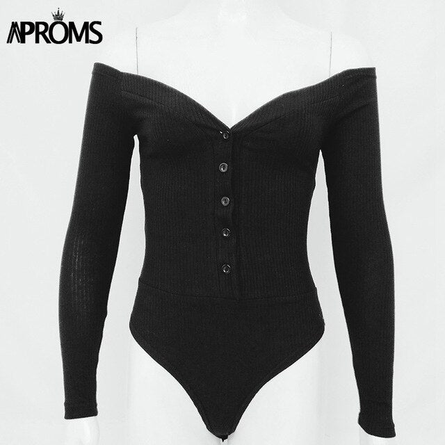 Aproms Red Off Shoulder Knitted Bodysuits Women Sexy Buttons Long Sleeve Skinny Fit Bodysuit Autumn Streetwear Fashion Tees Top