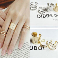 3 Pcs Punk Gold Silver Rings Female Anillos Stack Plain Band Finger Rings Set for Women