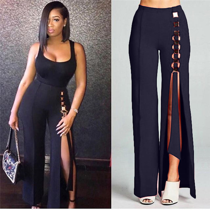 Black High Waist Wide Leg Pants Women Party Loose Pleated Palazzo Pants Button Front Split Straight Leg Trouser Pants for Ladies