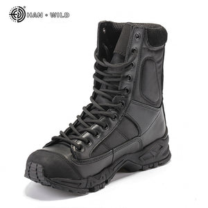 Military Army Boots Men Black Leather Desert Combat Work Shoes Winter Mens