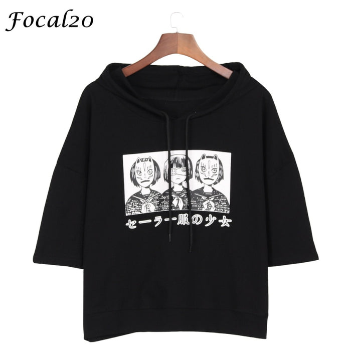 Focal20 Streetwear Mask Girl Janpanese Print Women Hooded T-shirt Summer Short Sleeve