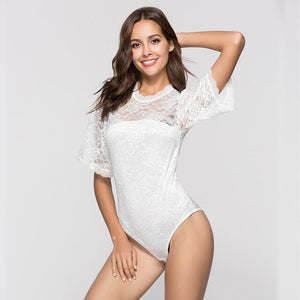 Black White Lace Bodysuit Elegant Hollow Out Body Top Slim Back See Through Bodysuit Top 2018 All-matched Women Tops