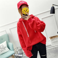 2018 Russian hot women's hoodies casual sweatshirt solid color long-sleeved loose large size women top  winter explosion moleton