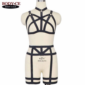 Full Body Harness Set Elastic Strap Leg Harness garter Belts Sexy Lingerie Dance Rave Costume Black Cage harness Top Halter