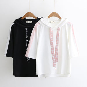 Merry Pretty t shirt women black hooded t-shirt harajuku casual drawstring solid short sleeve cotton top streetwear bbf tshirts