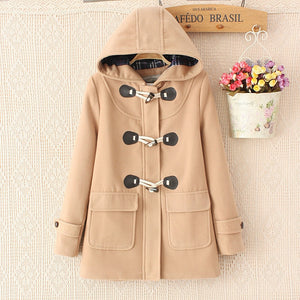 Duffle Coat Long Turn Down Horn Button hooded collar long woolen women's jacket college wind winter windproof warm coat women