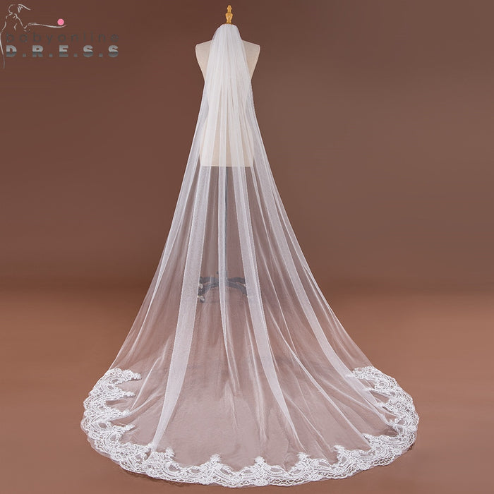 Babyonlinedress 3M Lace Edge Long  Veil White Ivory One Layer Soft Tulle