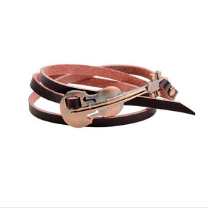 TANGYIN New Fashion Alloy Guitar Real Leather Jewelry Punk Multi-layer Bracelet