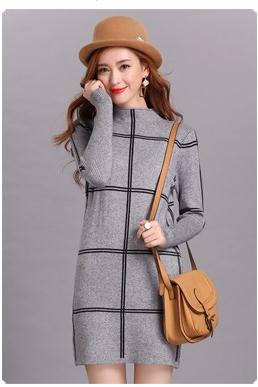 Merry Pretty sweater dresses for winter elegant tunic plaid christmas dress women half turtleneck knit sweaters dress plue size