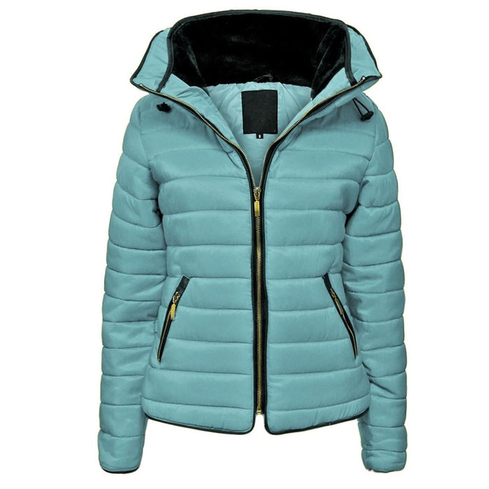 puffer jacket parka women brand hooded coats causal slim fit solid color