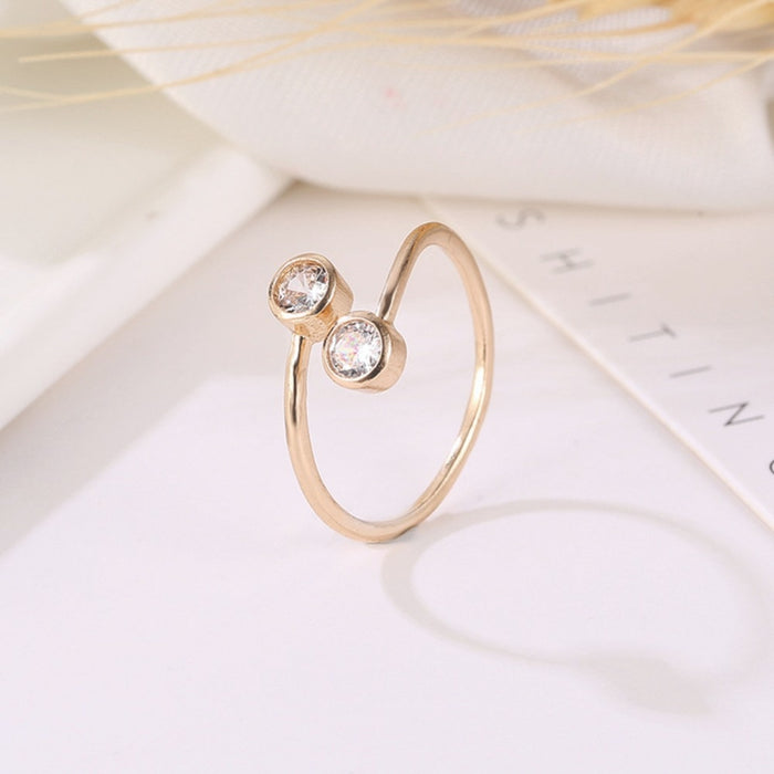 Rose gold Silver Crystal Rings for Women Fine Jewelry Adjustable Double Round CZ Ring Open Midi Toe Engagement Rings #289426