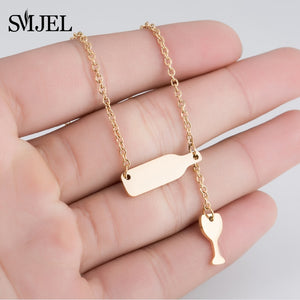 SMJEL New Bottle Wine Cup Necklaces Women Stainless Steel Lariat Y Style Sweater Necklaces Long Chain Accessories Jewelry