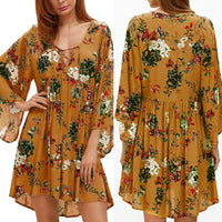 V-Neck Flare Sleeve Dress Casual Loose Short Mini dress women 2018AUG3