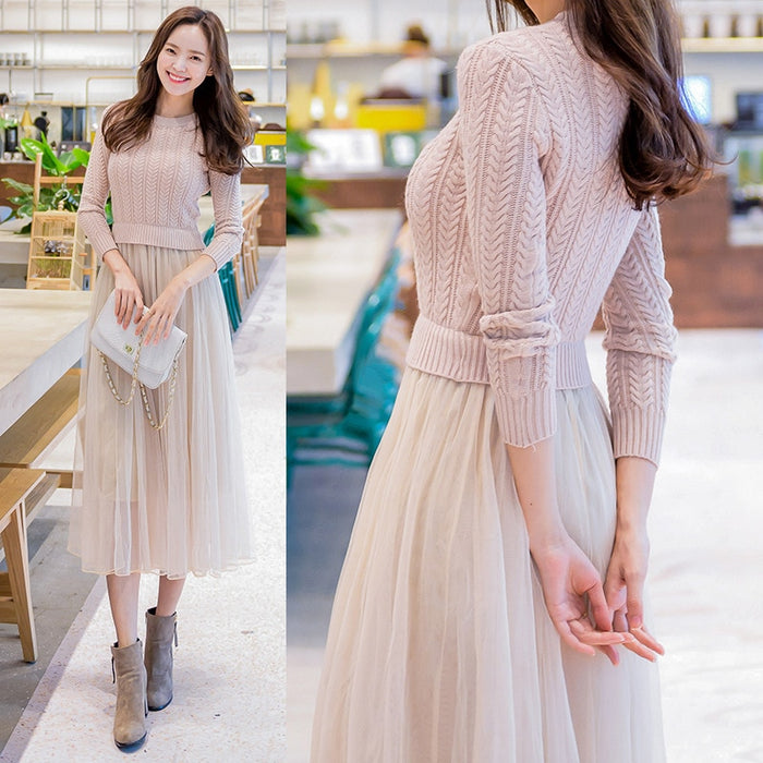 2018 Elegant Knitted Dress Autumn Winter Long Sleeve Sweater