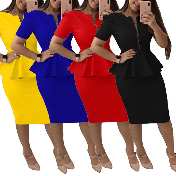 Neck Short Sleeve Peplum Work Dress Office Bodycon Sheath Midi Pencil Dress