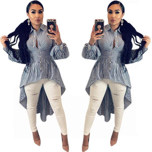 2018 New Fashion Classic Striped Long Women Blouses Shirts Dresses Long Sleeve Turn Down Neck Blue and White Striped Women Tops