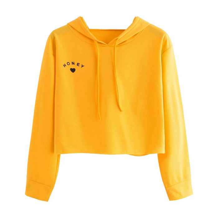 Heart Printing Hoodies Sweatshirts Harajuku Short Stitching Hoodies Women