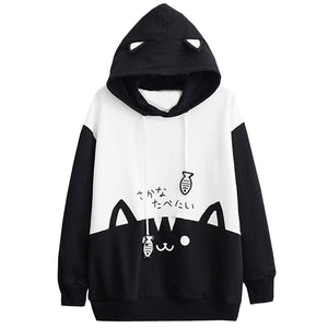 Fashion Kitty Cat Print Hoodies Pullover Women Autumn Winter Hooded Hoodie Thin Sweatshirt With Pocket Coat Tops Clothes