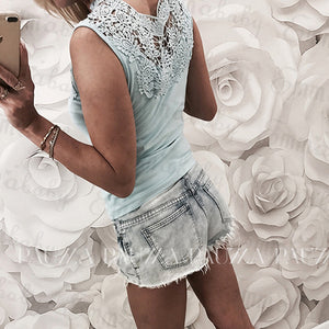 Summer Women Tops Sleeveless Lace Hollow Slim Blouses Shirt Lady V-neck Vest Tee Clothes