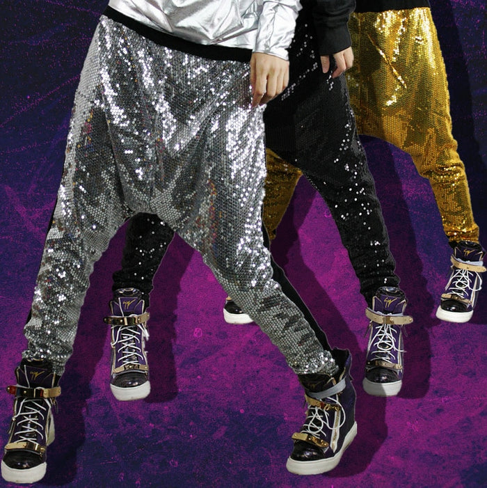 New Fashion Harem Pants Women Bling big crotch personalized hip hop dance stage costumes metal color Jazz trousers