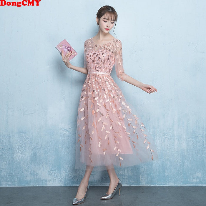 DongCMY New Short Prom Dresses Vestido Elegant Pattern Illusion Party dress