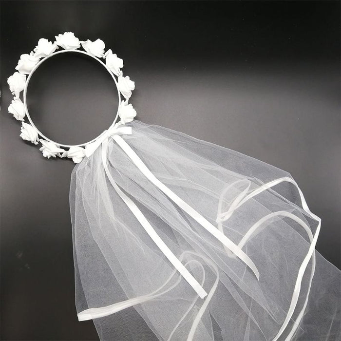 Veil White Flower Hair Wreath Garland Wedding Headband Crown