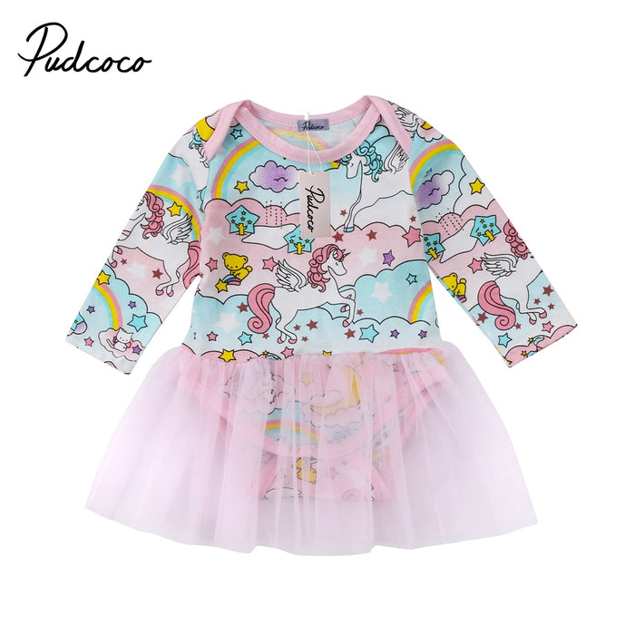 2018 Brand New Toddler Infant Newborn Baby Kid Girl Long Sleeve Unicorn Print Dress Clothes Tutu Chiffon Dress Cartoon Clothes