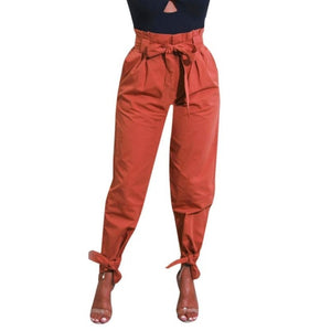 Woman jeans  Winter 2018  Womens Belted High Waist Trousers Ladies Party Casual Pants  7.13