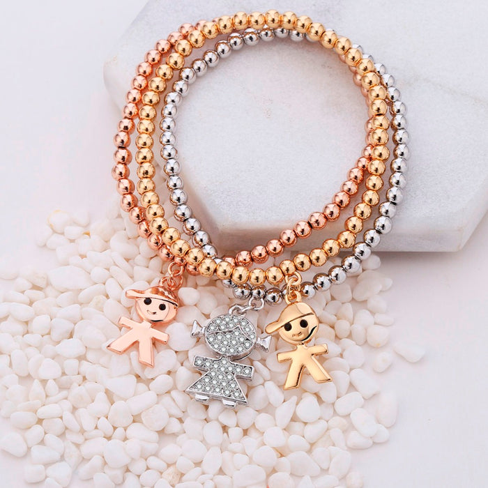 Mix Colors Boy Girl Crystal Charms Bracelets For Women Elastic Beads Bracelet
