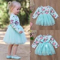 Toddler Baby Girl clothes Long Sleeve Floral Tulle Party Pageant Formal Dress Clothes