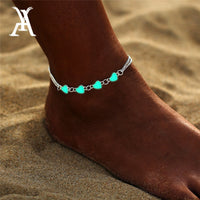 Bohemia Luminous Heart Pendant Anklets For Women Pretty Bracelet on the Leg Lover Anklet Fashion Female Foot Jewelry Party Gift