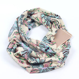 Womens Double Hidden Zipper Pocket Infinity Loop Scarf Boho Style Floral Striped