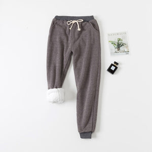 Lambs Wool Winter Pants Women Thick Plus Velvet Trousers Women Loose Lace Up