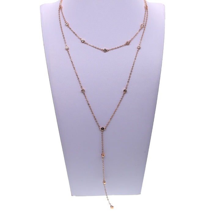 fashion bling 3mm bezel chain choker lariat sexy women design double layer cz station yard chain necklace