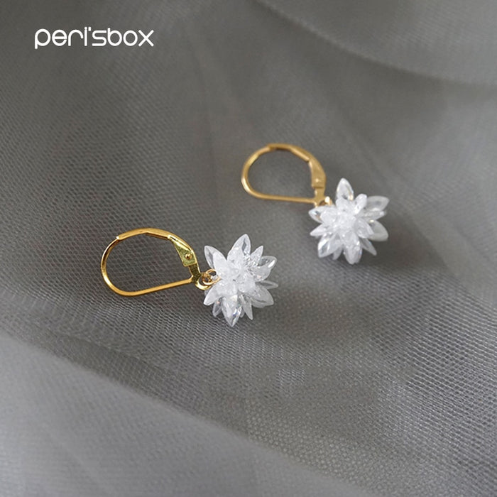 Peri'sBox Gold Color Small Cubic Zirconi Hoop Earrings for Women Hanging